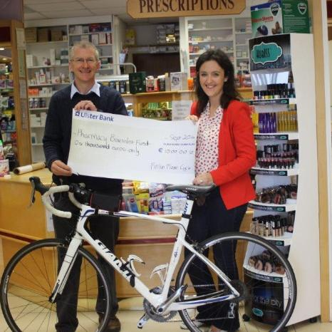 Pharmacist Fintan Moore raised €1000 for the Pharmacy Benevolent Fund on his sponsored cycle